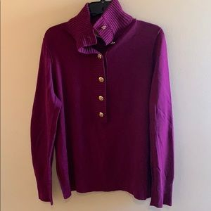 Tory Burch plum Giselle 1/4 button up sweater